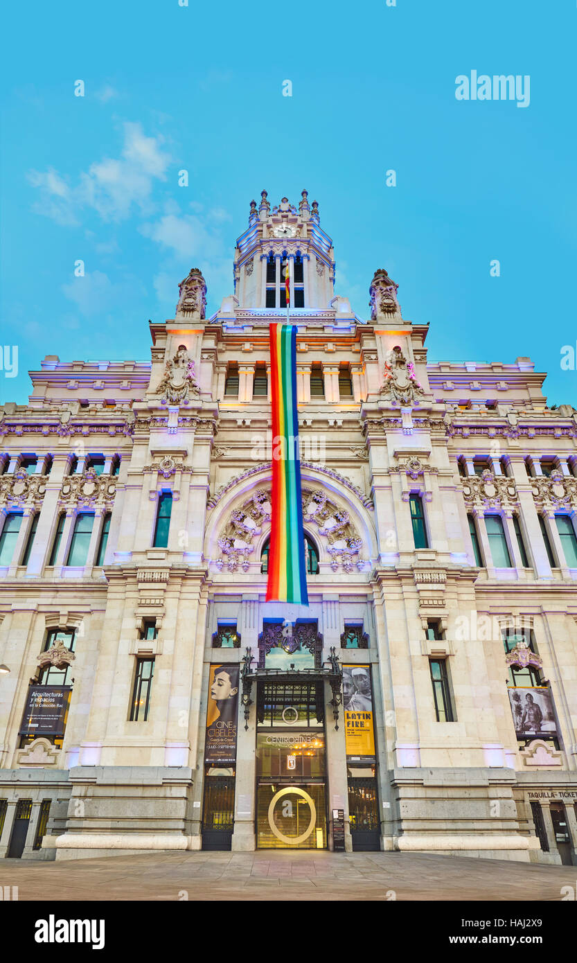 Madrid city hall at its new location,The Cybele Palace, formerly The Palace of Communication, once the headquarters - Stock Image
