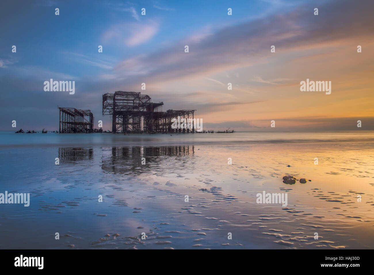 Beautiful sunset at the West Pier - Stock Image