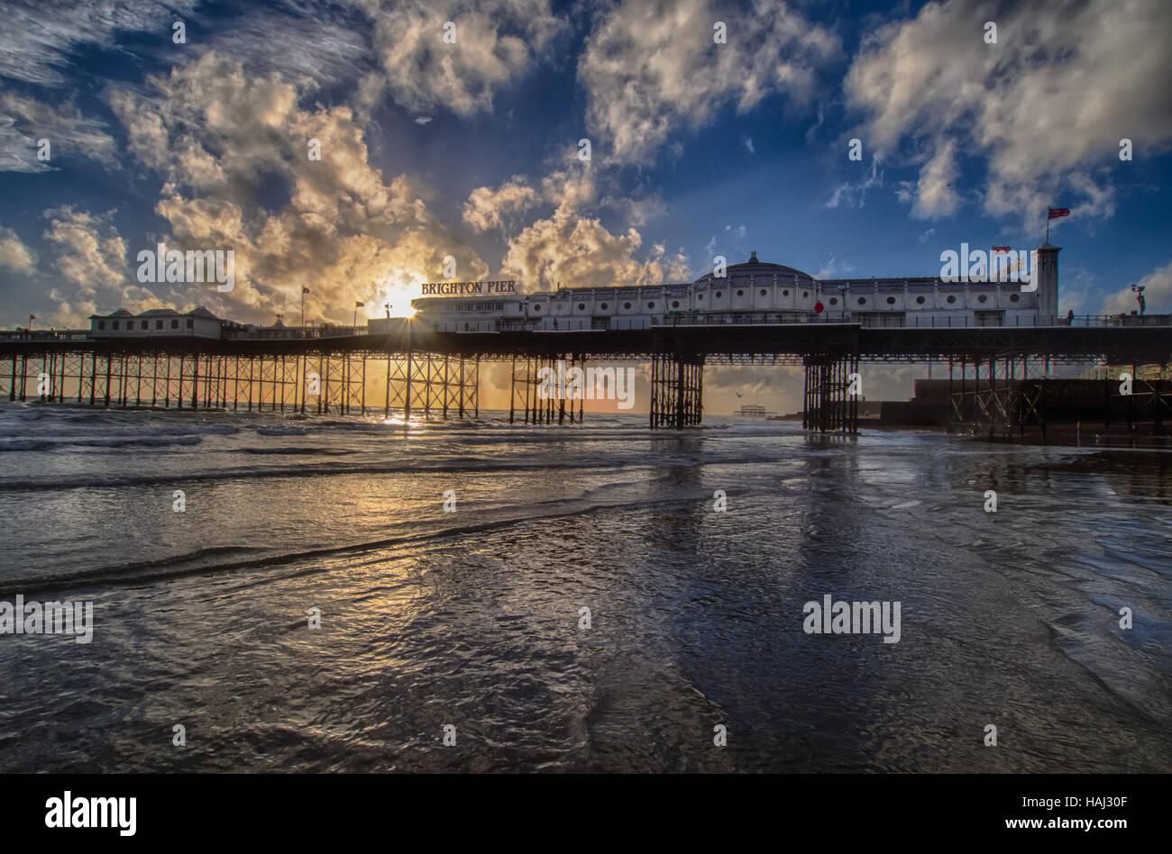 Sunlit Brighton Pier - Stock Image