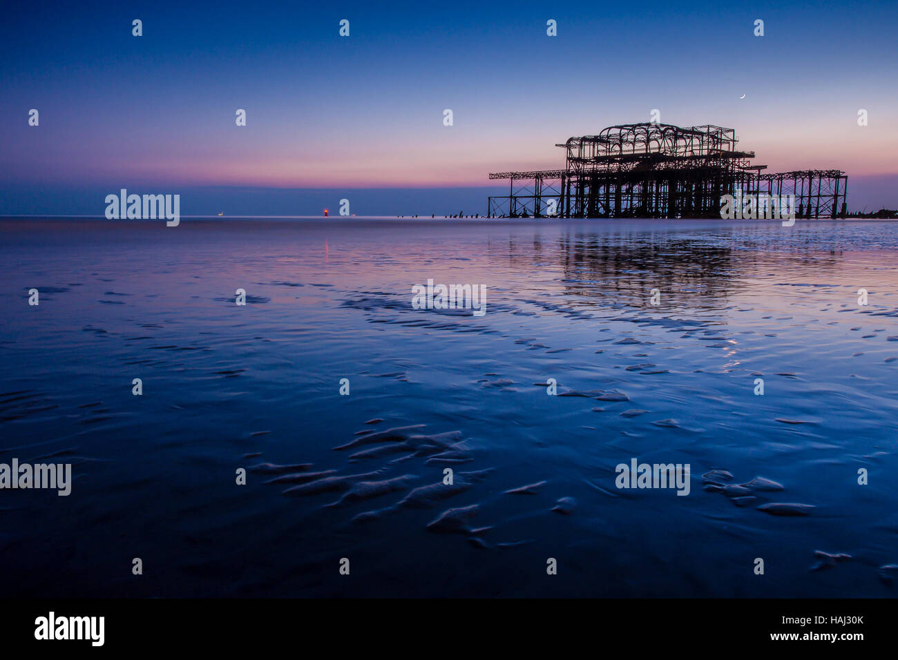 Blue hour at the West Pier Stock Photo
