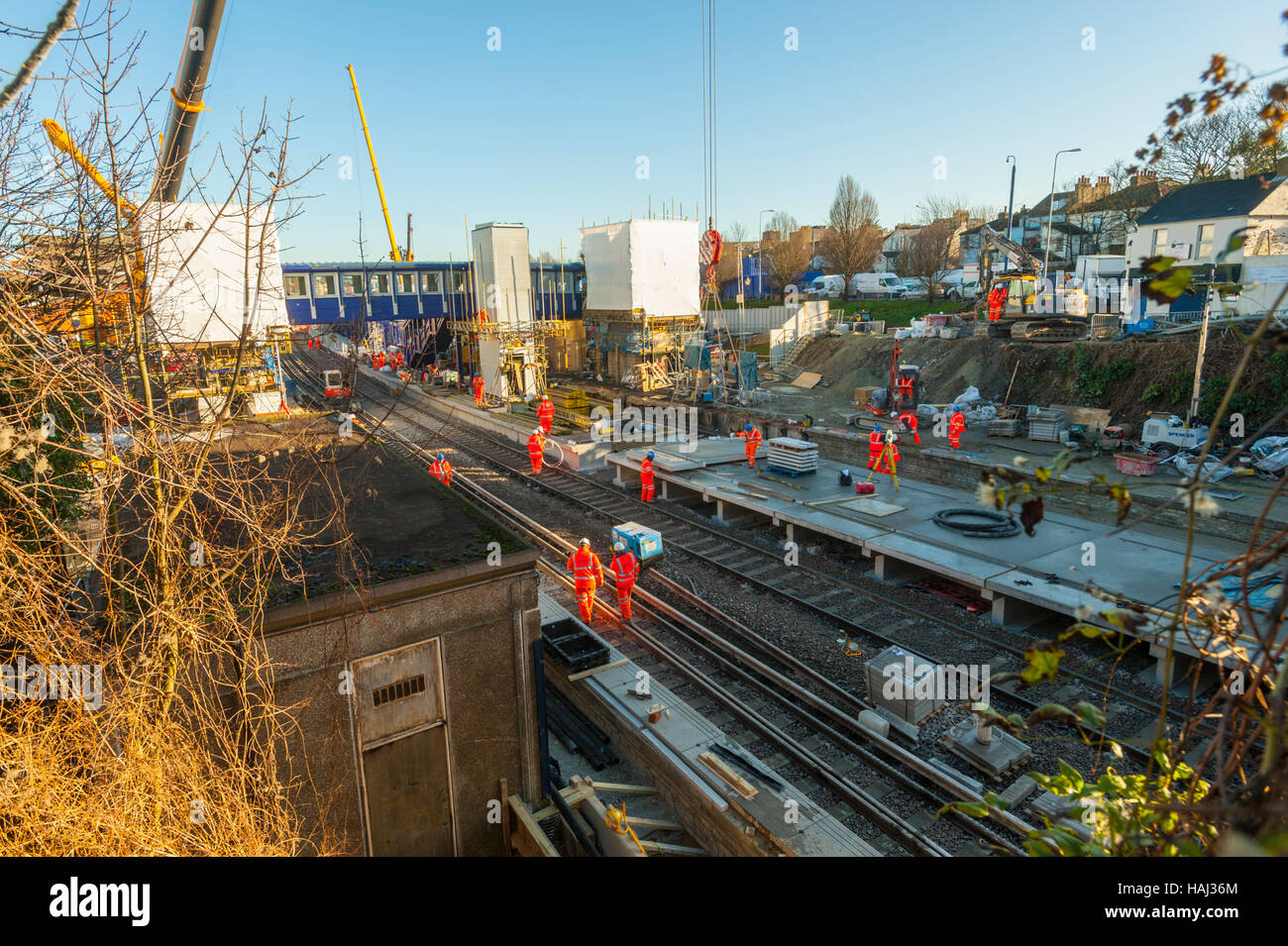 Engineering work to rebuild the station at Gravesend over Christmas 2013 - Stock Image