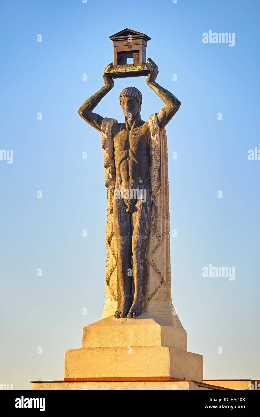 The Roman 1930 Sculpture By Victorio Macho Located Atop Building On 60 Gran Via Street Madrid Spain