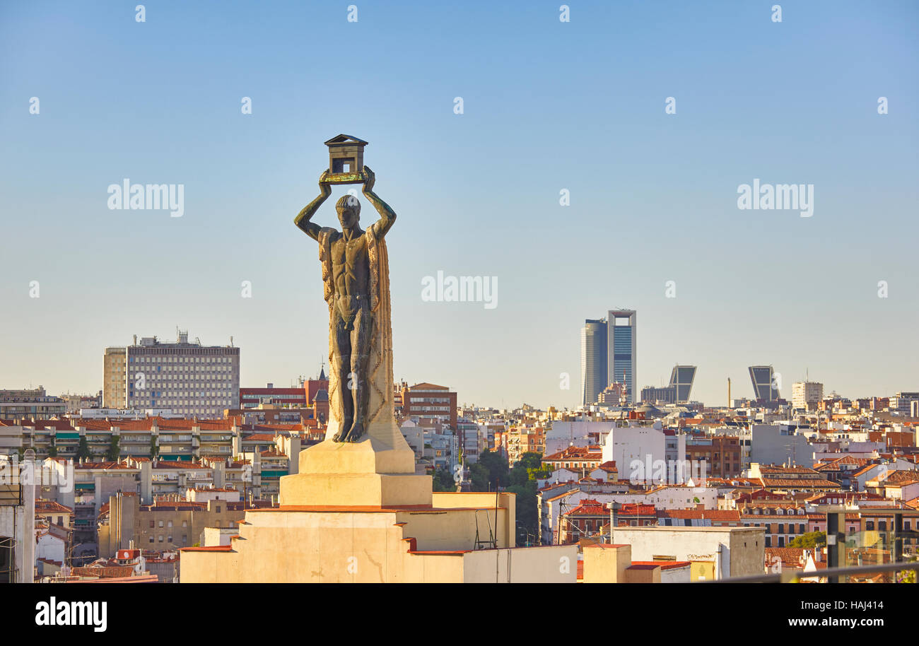 The Roman Sculpture 1930 By Victorio Macho Located At Top Of 60 Gran Via Street Building And Madrid Skyline Spain