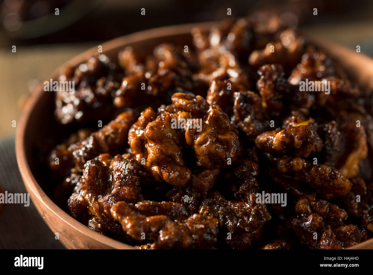 Sweet Homemade Candied Walnuts Ready to Eat - Stock Image