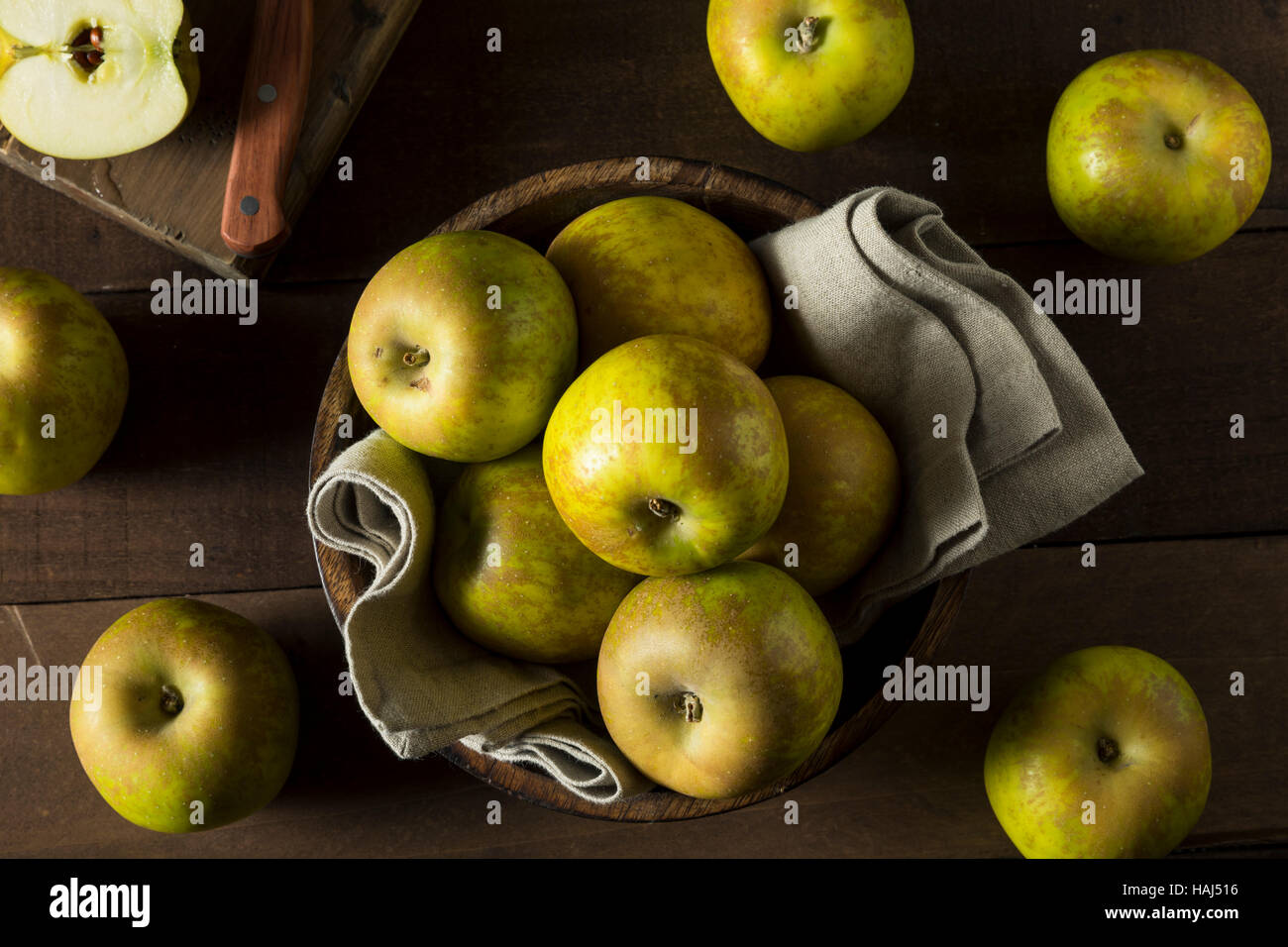 Raw Organic Heirloom Golden Russet Apples Ready to Eat - Stock Image