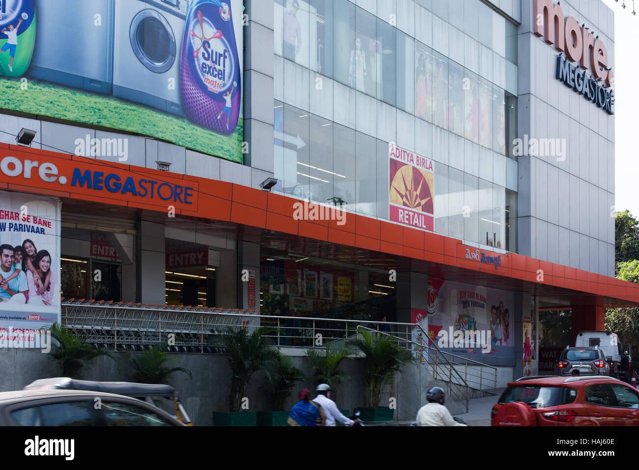 HYDERABAD, INDIA - DECEMBER 01,2016 More Megastore is India's leading supermarket.It is a part of Aditya Birla - Stock Image