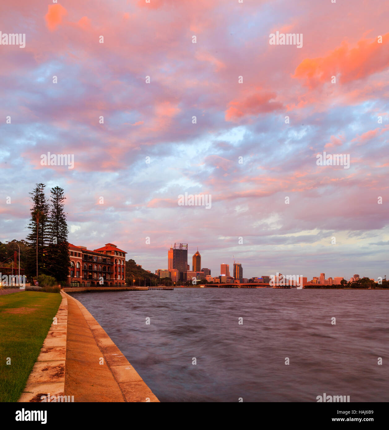 The Old Swan Brewery, Perth city and the Swan River at sunset. Perth, Western Australia - Stock Image