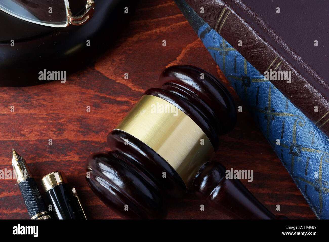 Law education concept.  A gavel and books. - Stock Image