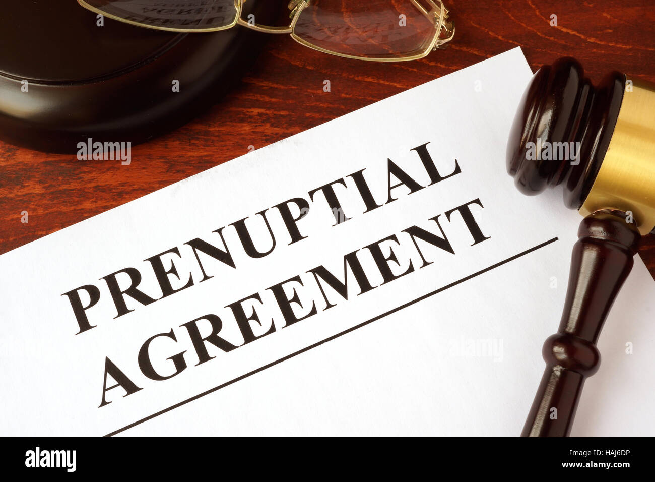Papers with title prenuptial agreement on a table. Stock Photo
