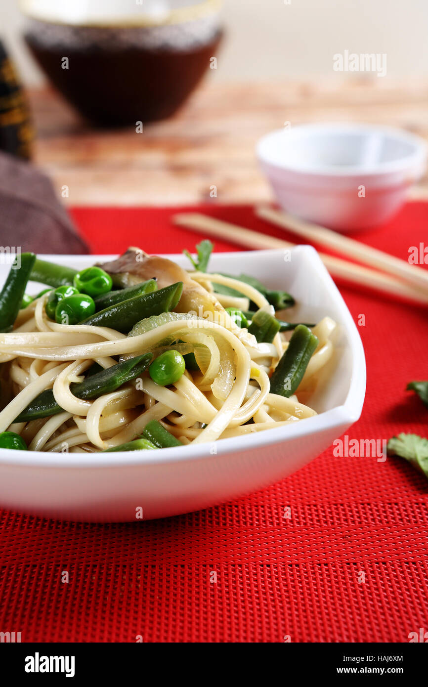 Nutritional noodles with green beans, food - Stock Image