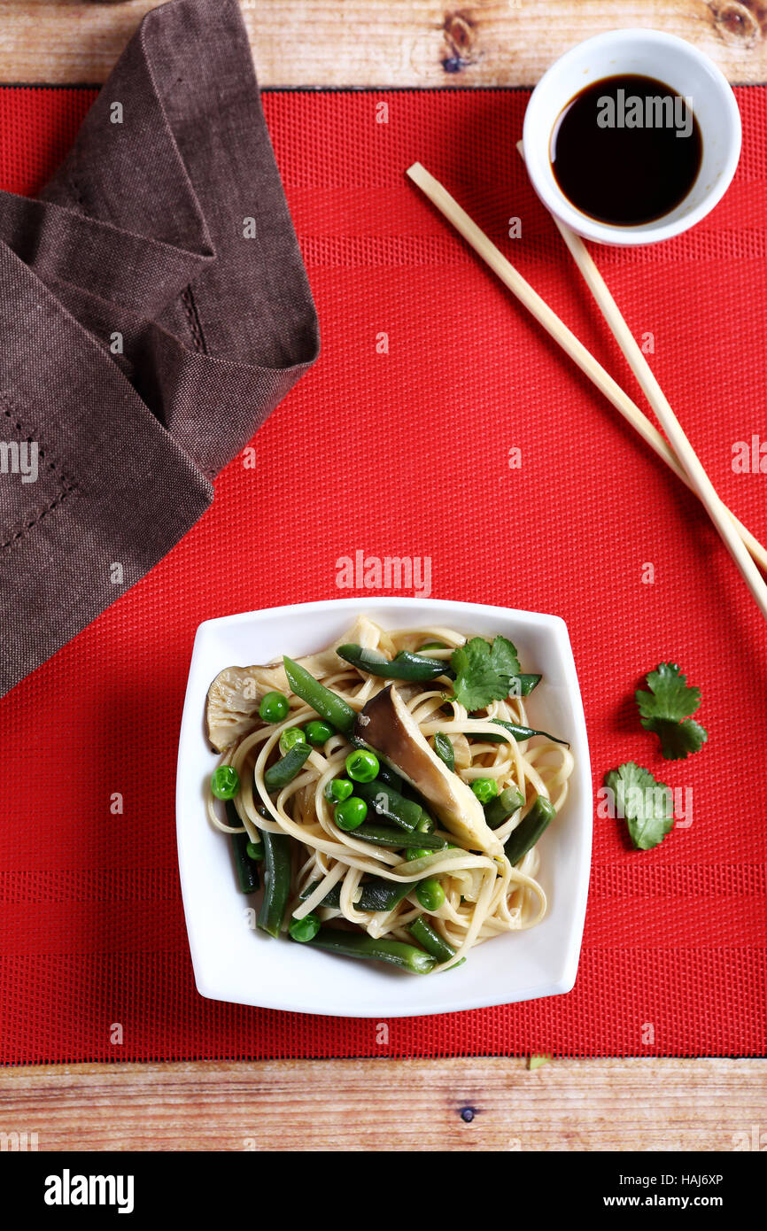 Delicious Noodles with green beans, food - Stock Image