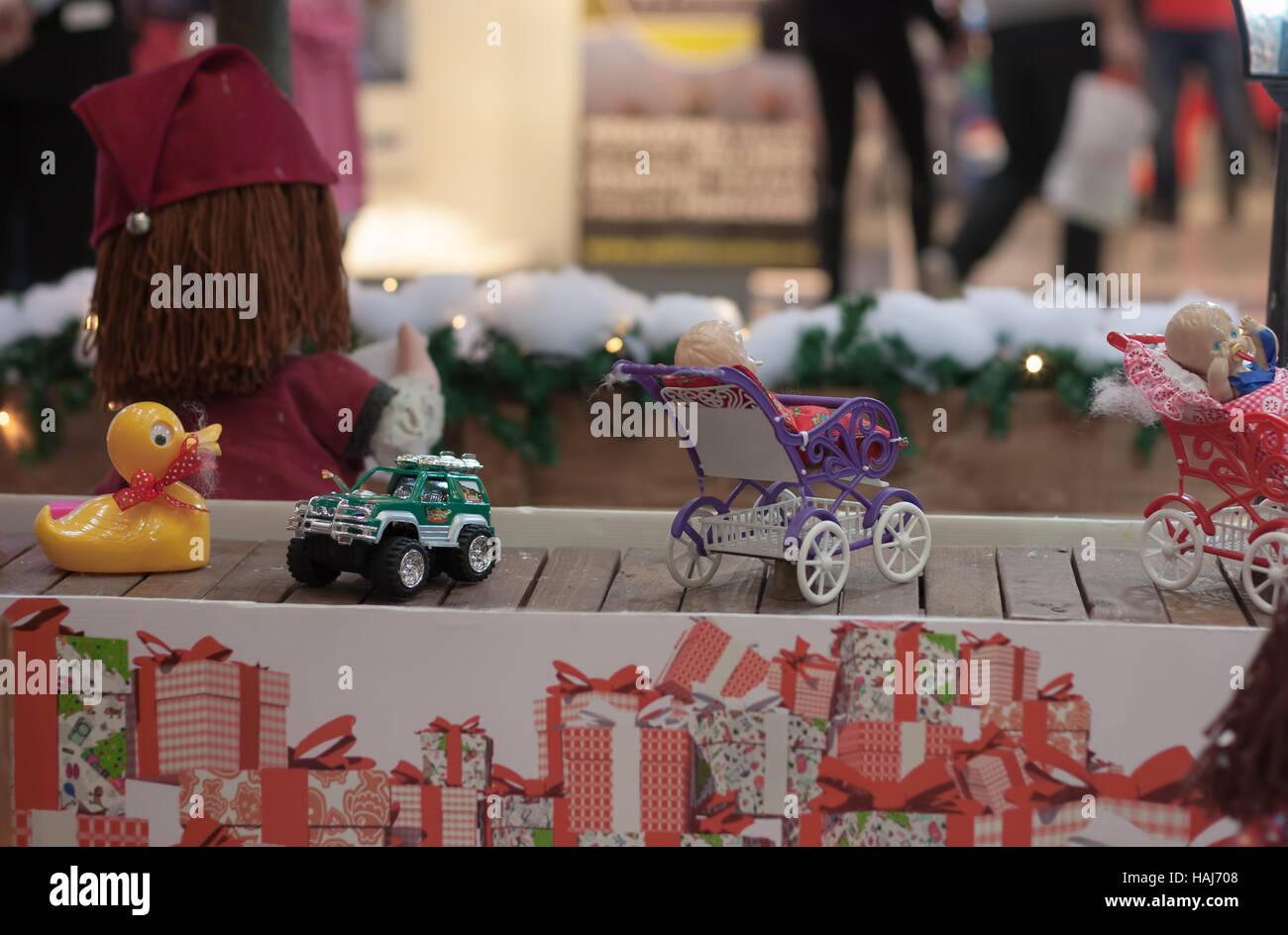BRNO,CZECH REPUBLIC-NOVEMBER 19,2016:Miniature toys  on conveyor belt  at shopping center Olympia on November 19, - Stock Image