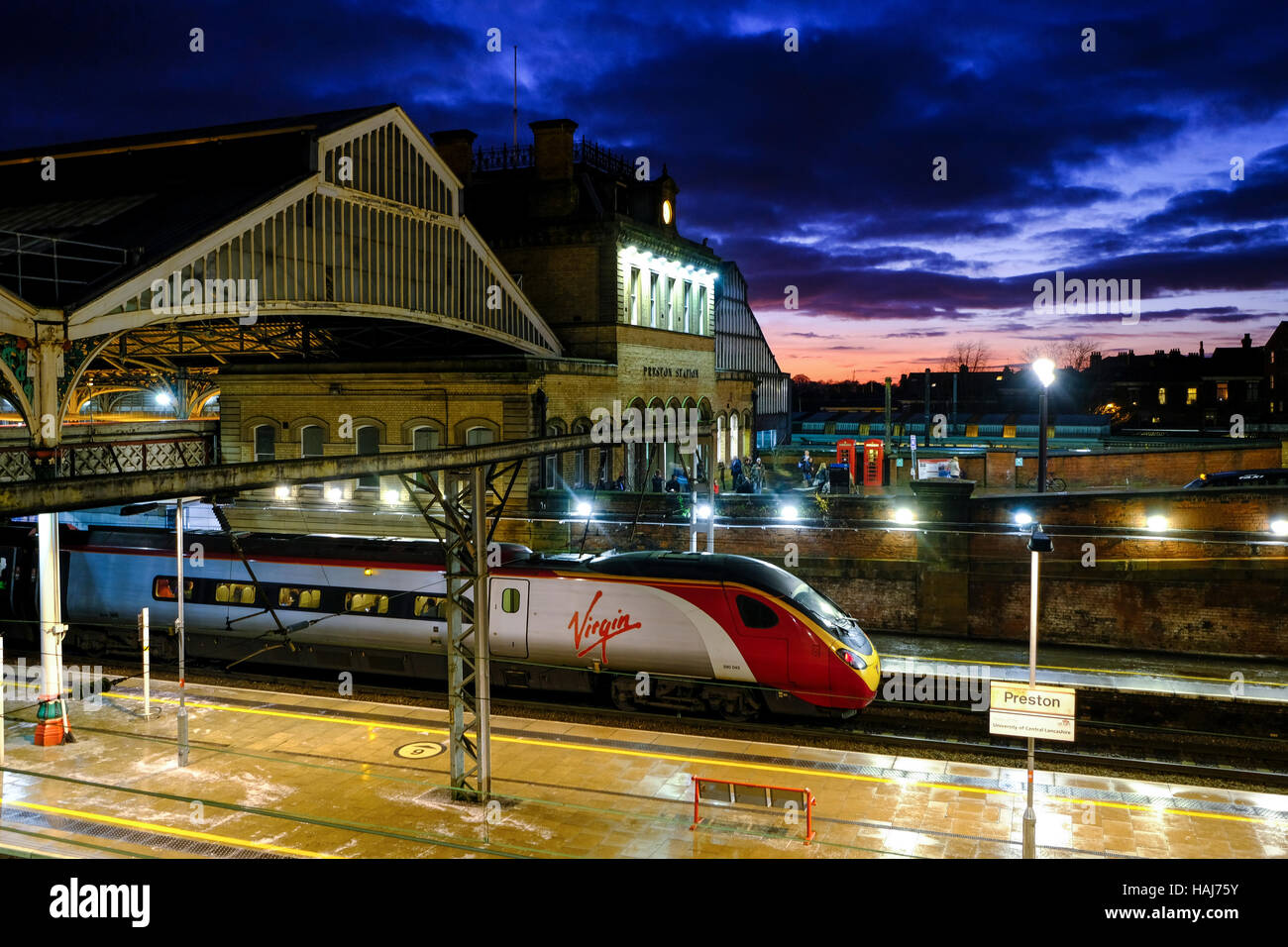 Virgin train at Preston Station on the West Coast line Stock Photo