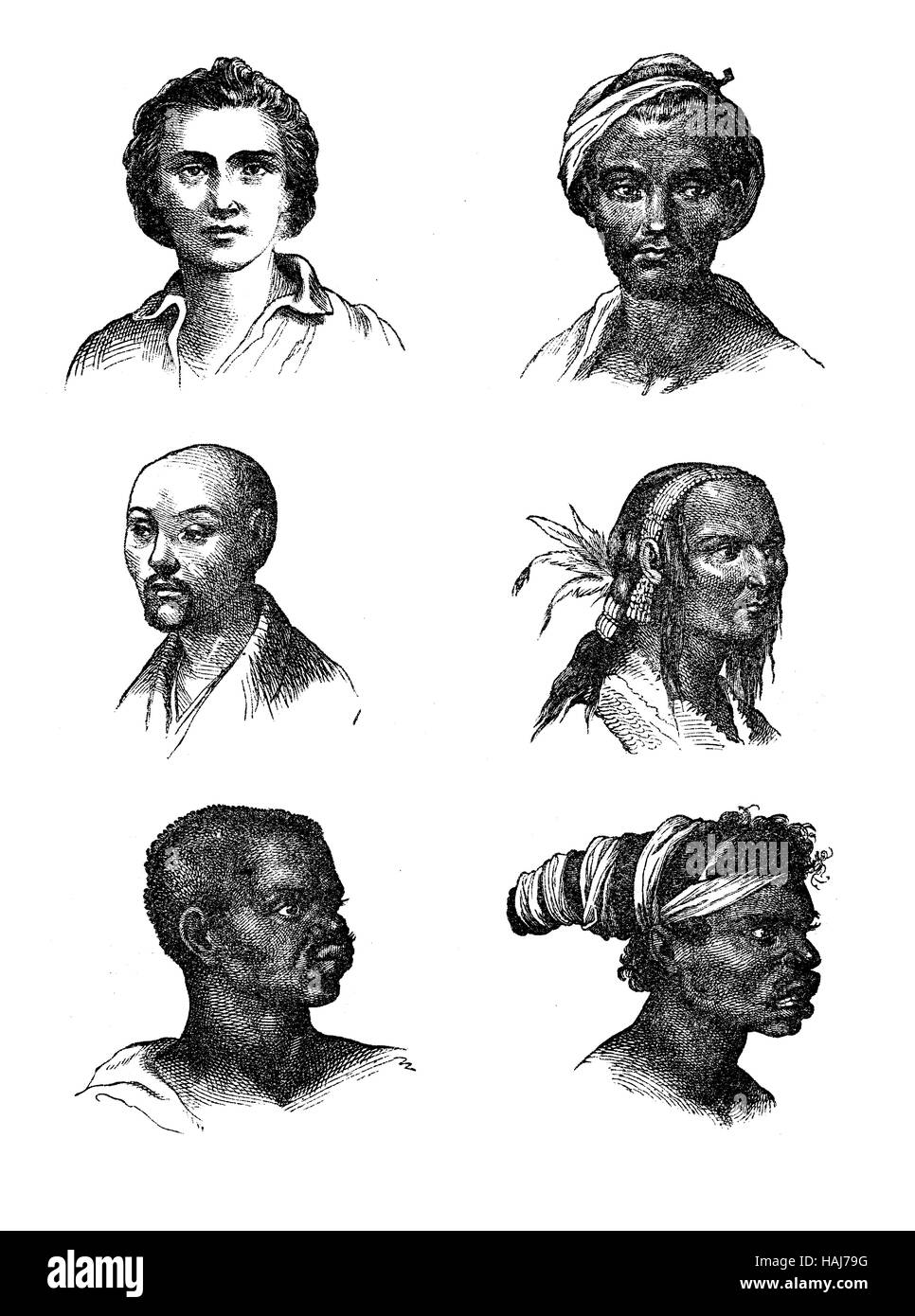 Vintage engraving representing the human races somatic diversity, representation of XIX century - Stock Image