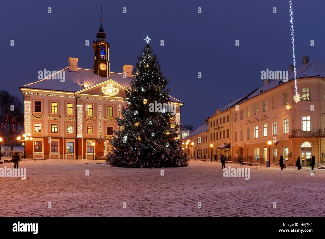 Tartu Town Hall Square with Christmas tree - Stock Image