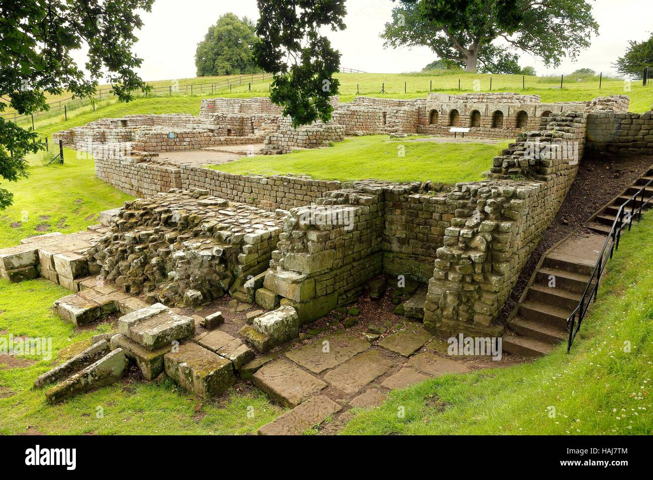 Chesters Roman Fort and Museum bathhouse. Chollerford, Hexham, Northumberland, England, United Kingdom, Europe. - Stock Image