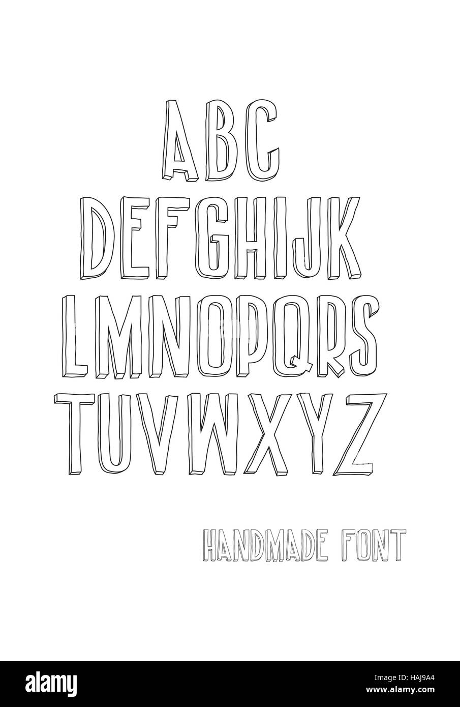 Letters of the alphabet written with a hand - Stock Image