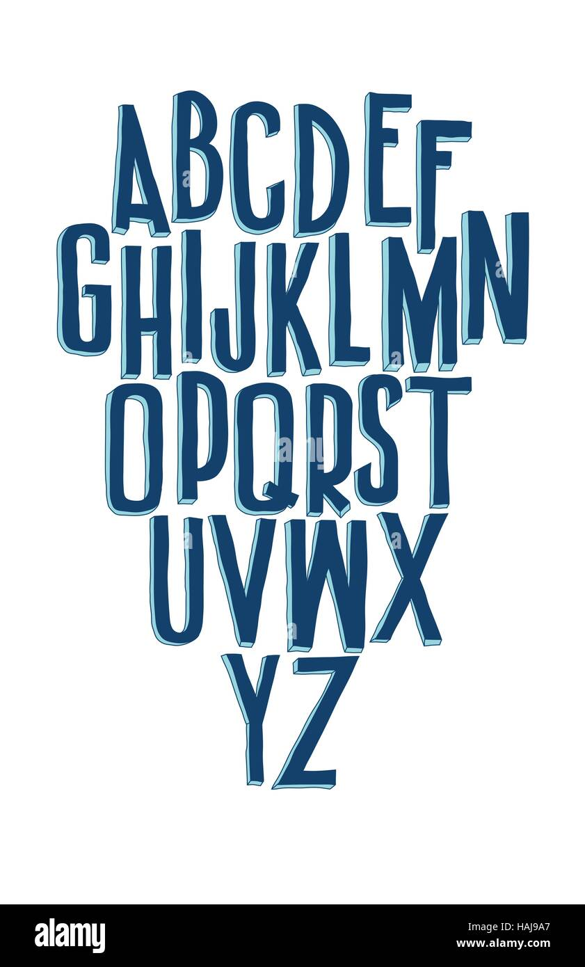 Typographic compositions. Letters of the alphabet written with a - Stock Vector