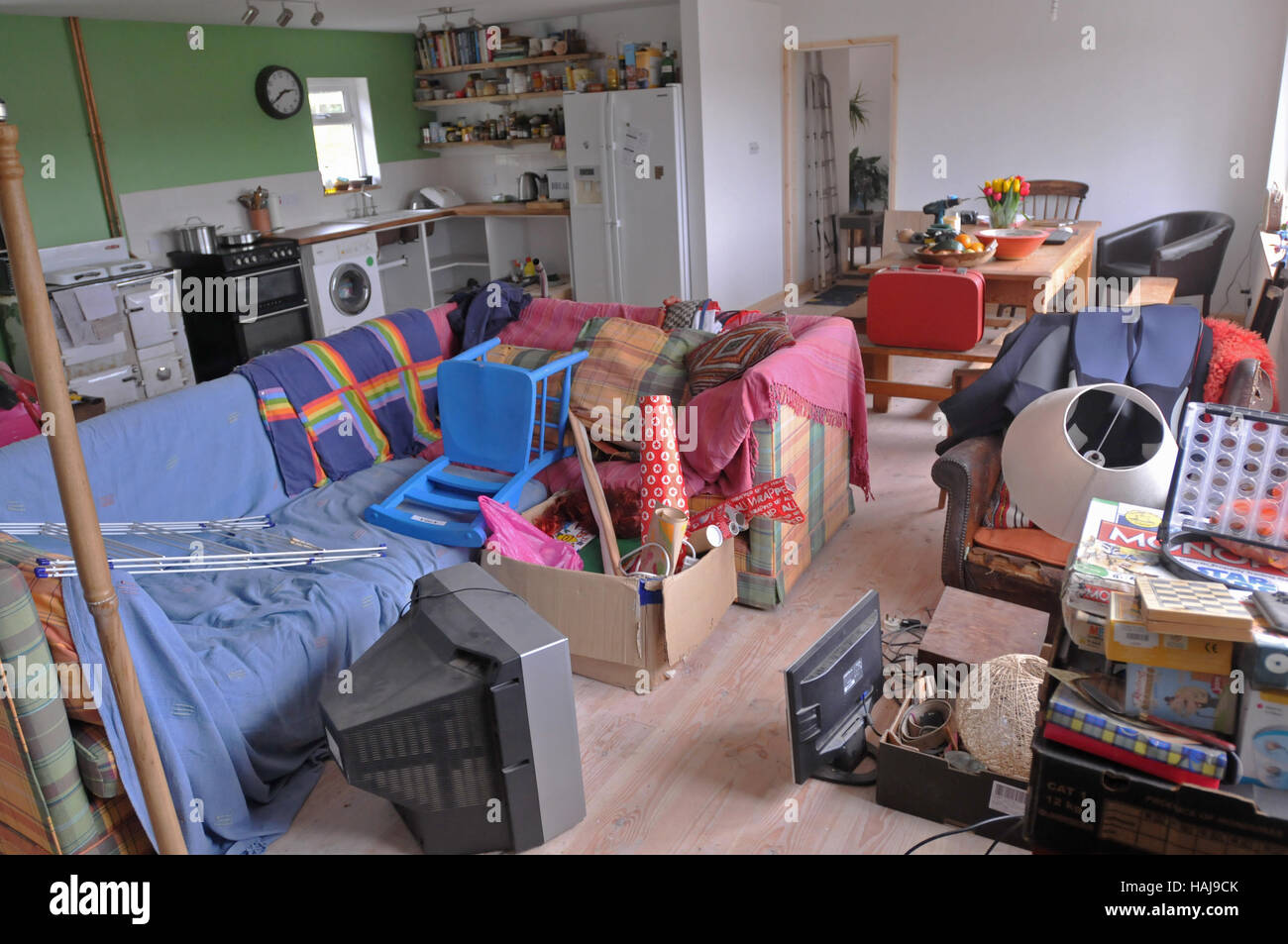 The contents of a house just unpacked. - Stock Image