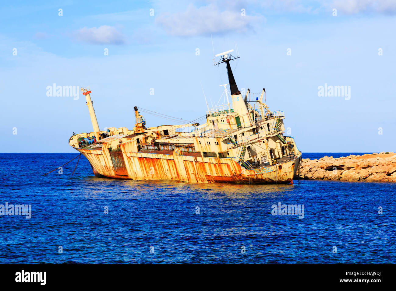 Wreck of the Edro III off Seacaves, Paphos, Cyprus - Stock Image