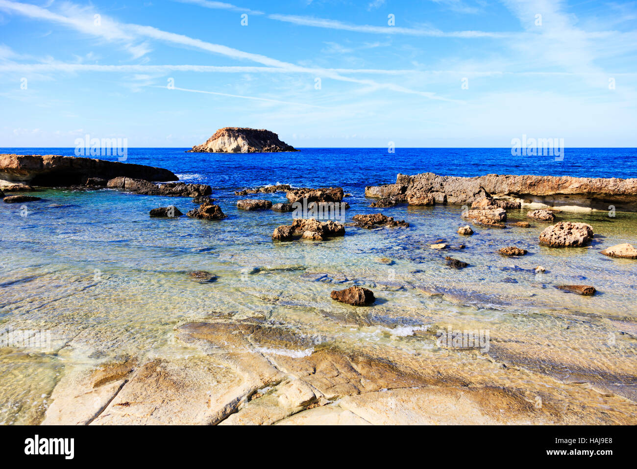 Beach at Agios Georgios with Geronisos island, Paphos.Cyprus Stock Photo