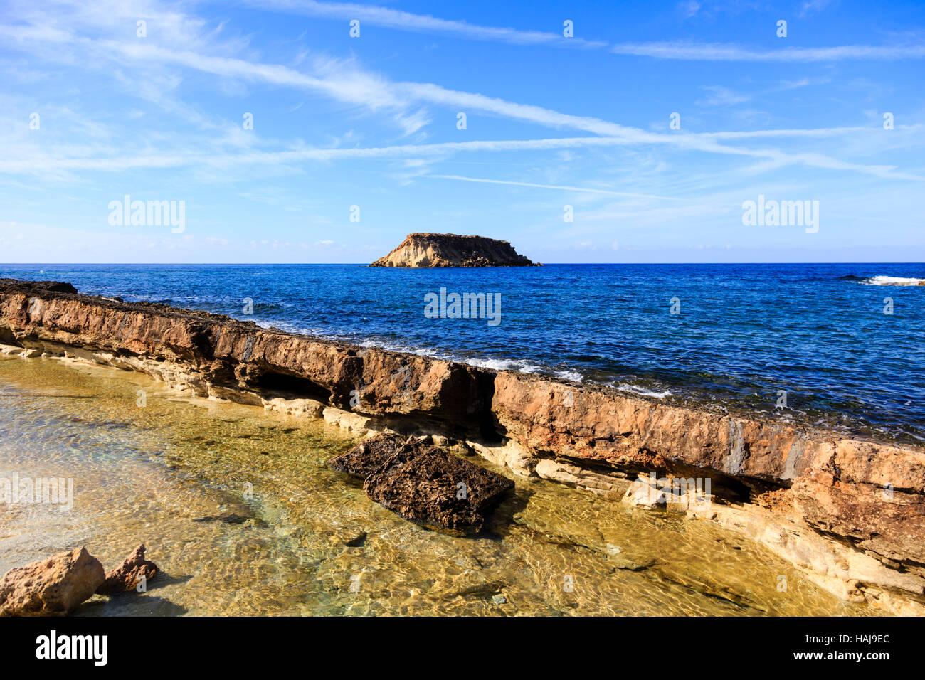 Beach at Agios Georgios with Geronisos island, Paphos.Cyprus - Stock Image