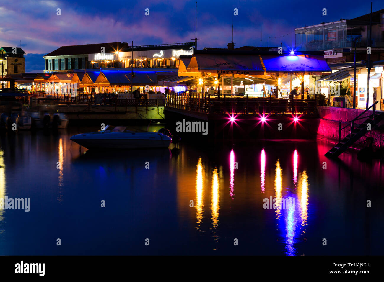 Night time over Paphos Harbour,Cyprus - Stock Image