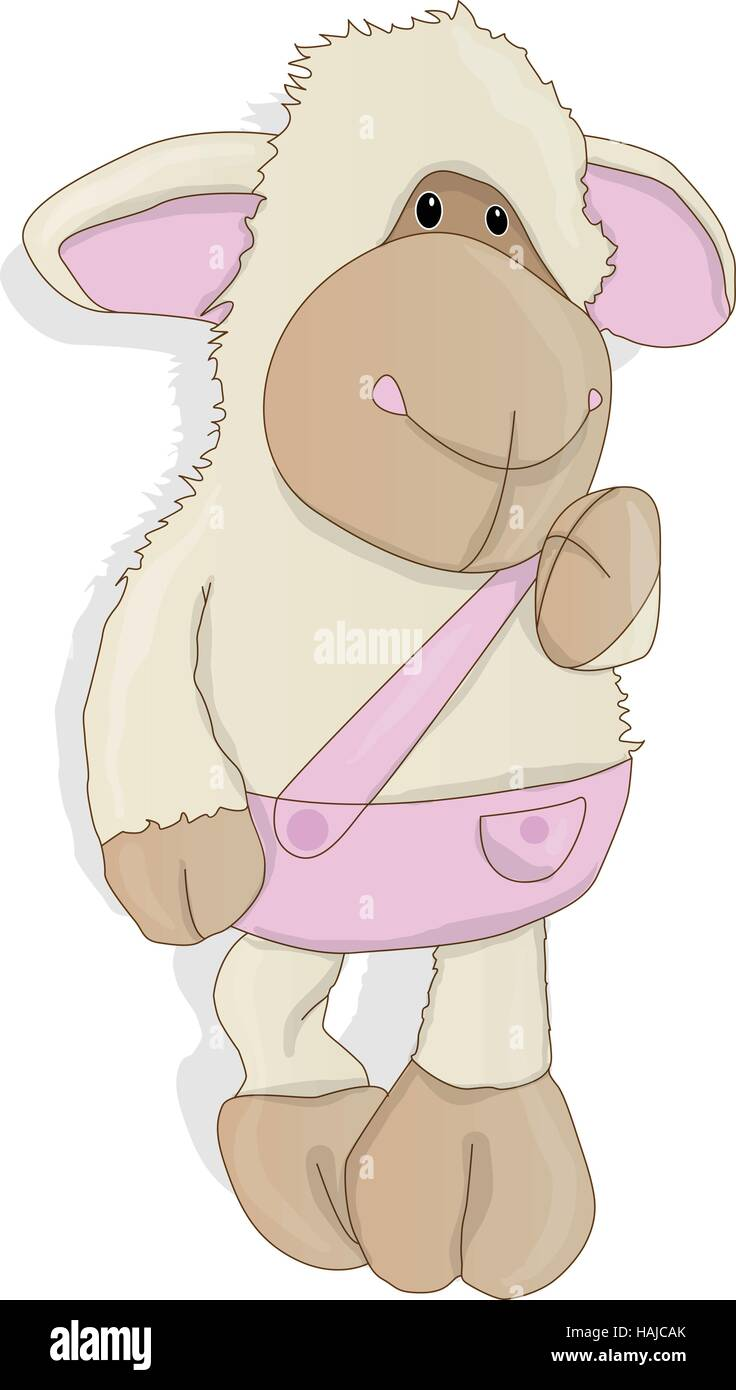 funny sheep posing vector isolated on white background - Stock Vector
