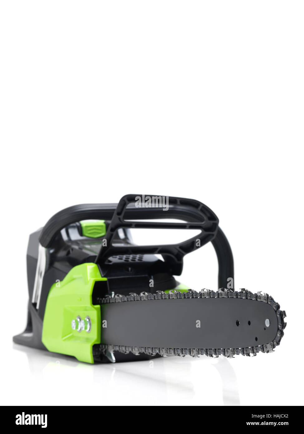 Electric Cordless battery powered chainsaw isolated on white background - Stock Image