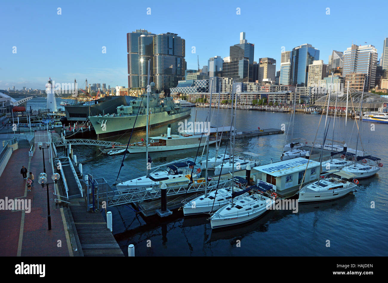 SYDNEY - OCT 20 2016: Cityscape of Darling Harbour, a recreational and pedestrian precinct situated on western outskirts - Stock Image