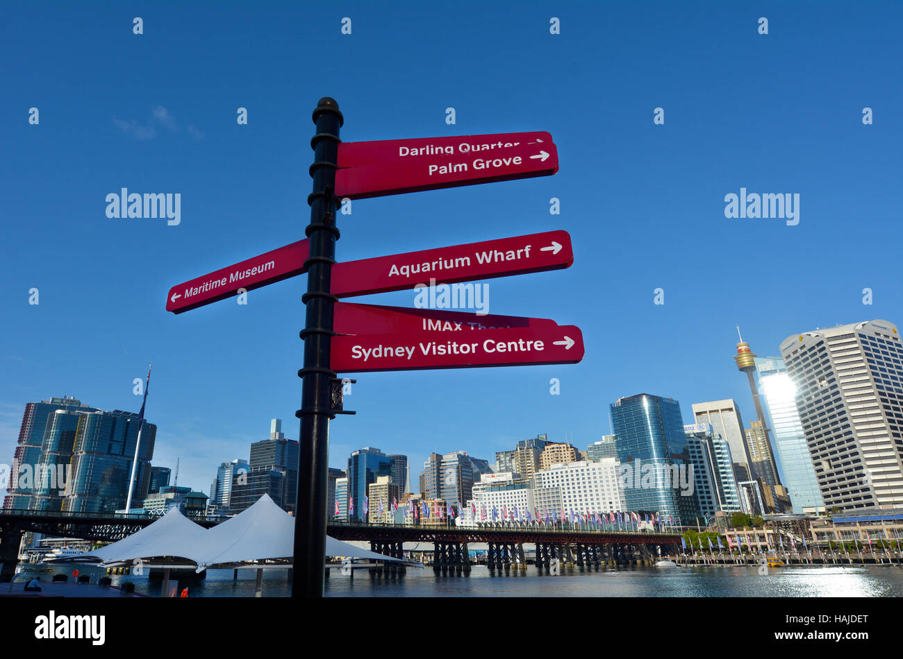 Signpost in Darling Harbour, a recreational and pedestrian precinct situated on western outskirts of the Sydney - Stock Image