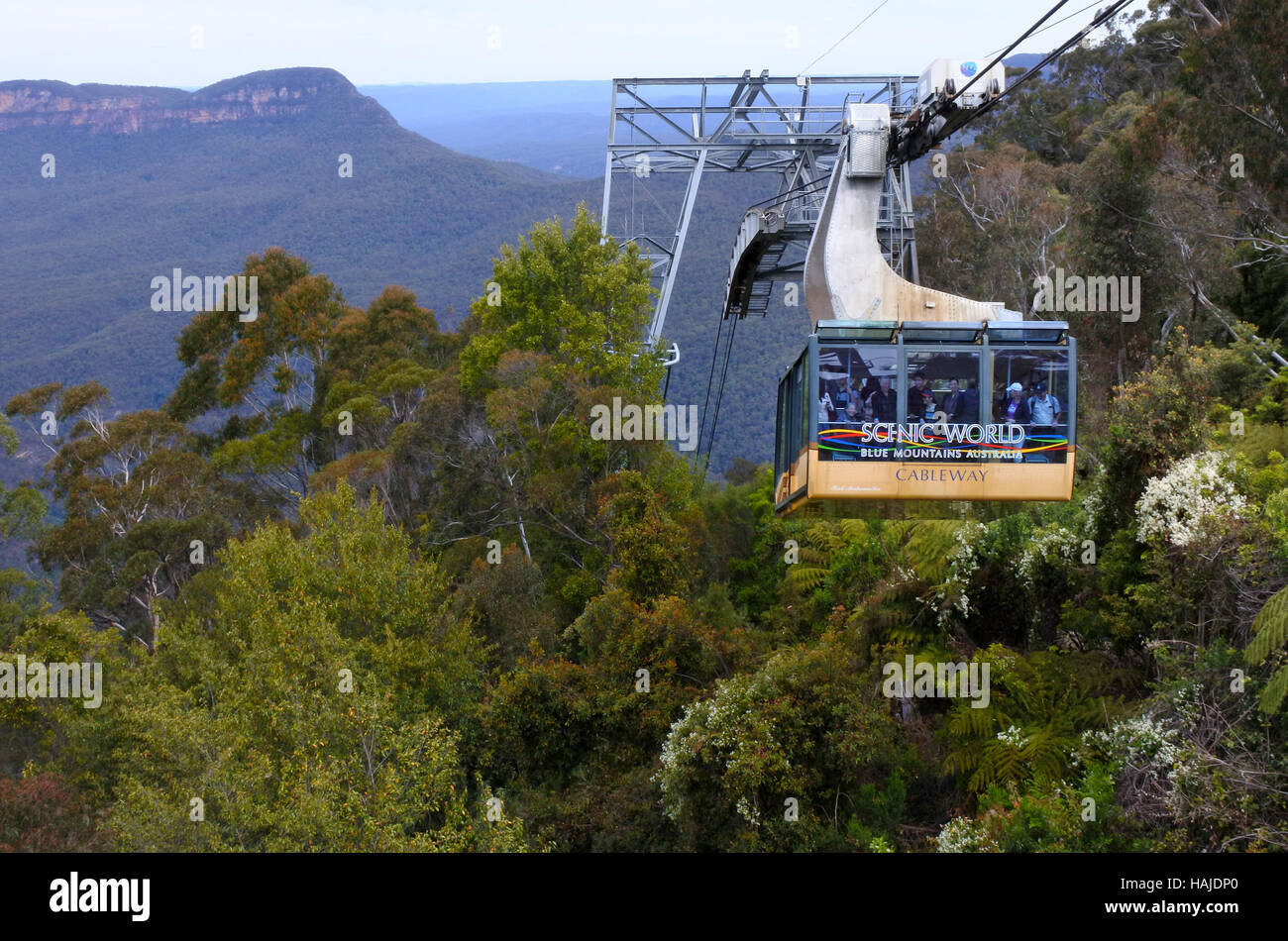 KATOOMBA, AUS - OCT 21 2016:Katoomba Scenic World Cableway descends into the Jamison Valley is the steepest and - Stock Image