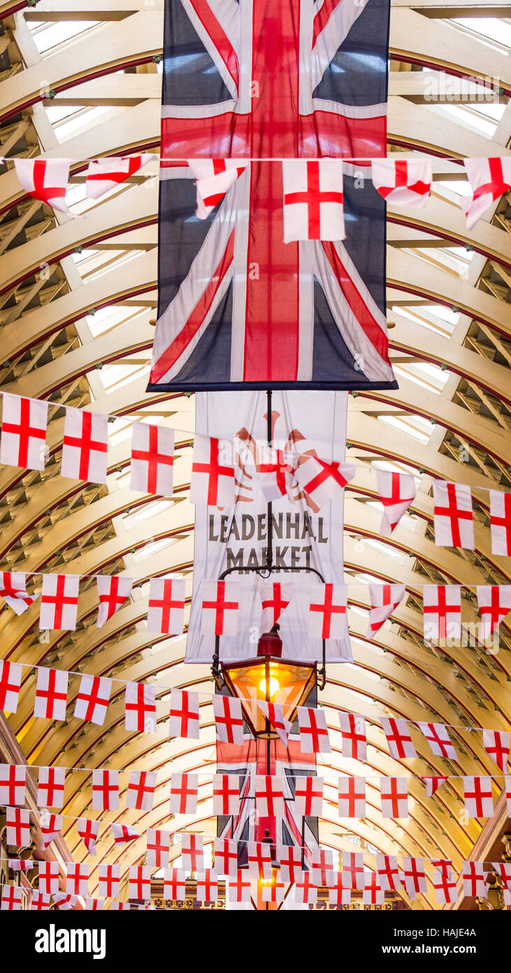 Leadenhall Market interior decorated with St George Flags - Stock Image