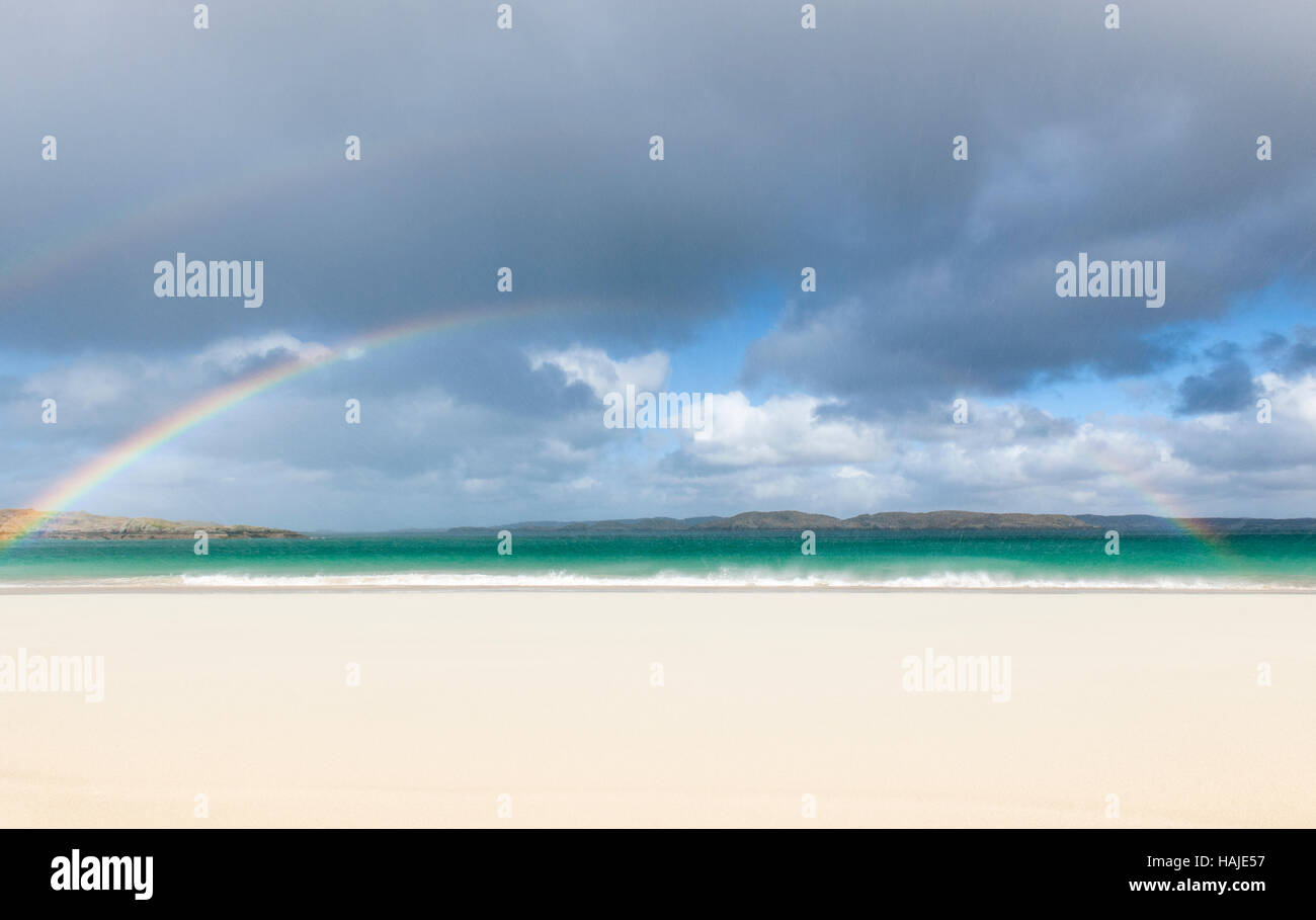 Rainbow above Traigh Na Beirigh (Reef Beach), Isle of Lewis, Outer Hebrides, Scotland - Stock Image