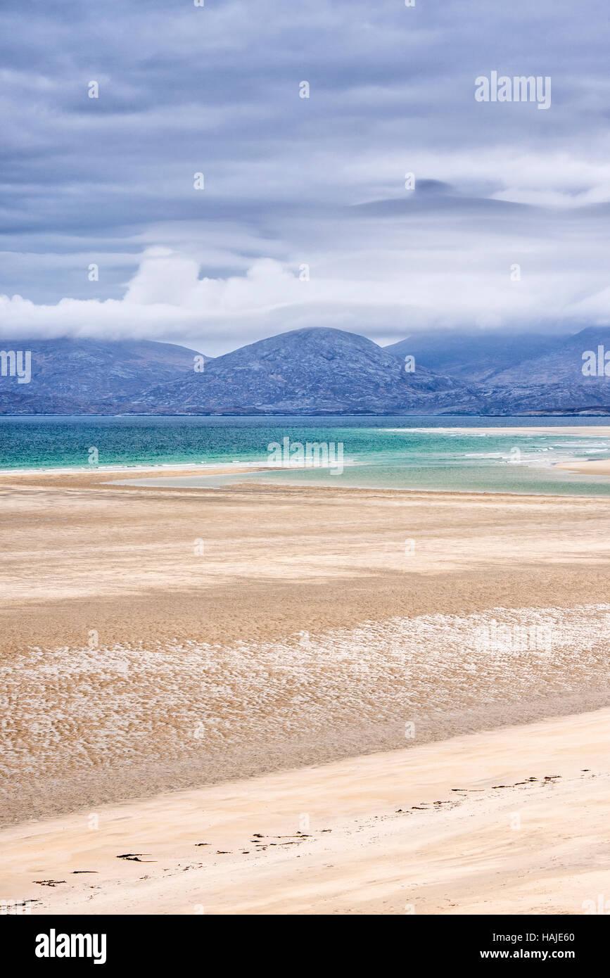 Seilebost beach at low tide, Harris, Hebrides, Scotland Stock Photo