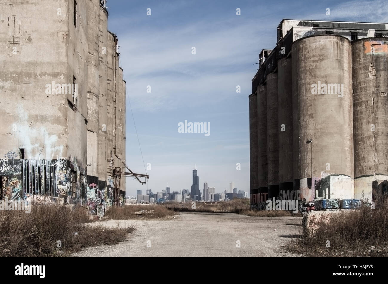 Chicago Skyline as seen from Damen Silos. - Stock Image