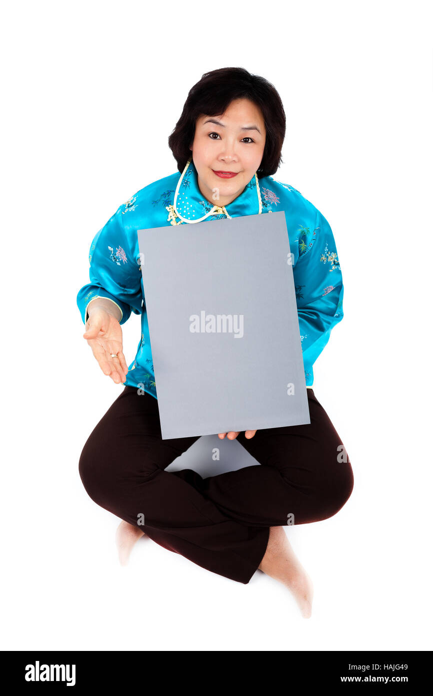 Chinese Woman Holding Blank Grey Board,  on white background Stock Photo