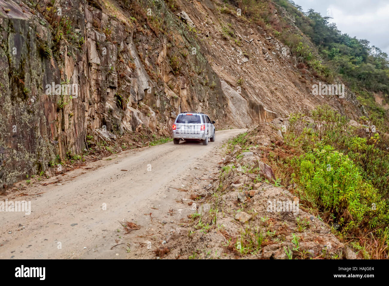 People Traveling In 4X4 Car In The Intag Valley, Ecuador, South America Stock Photo