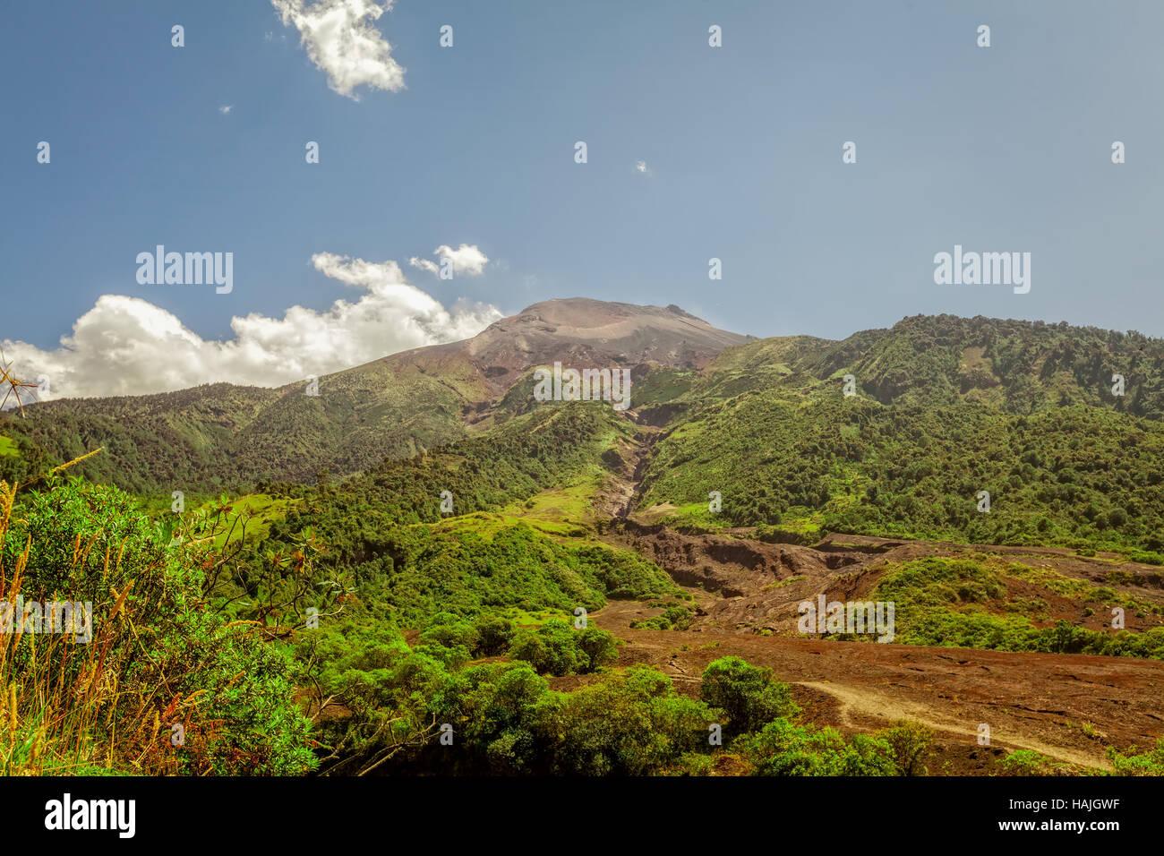 Panoramic View Of Dormant Tungurahua Volcano Mountain Volcano On A Sunny Day, Ecuador, South America Stock Photo