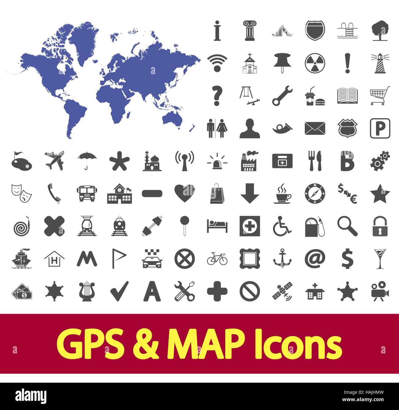 Navigation map icons set. Vector illustration. - Stock Image