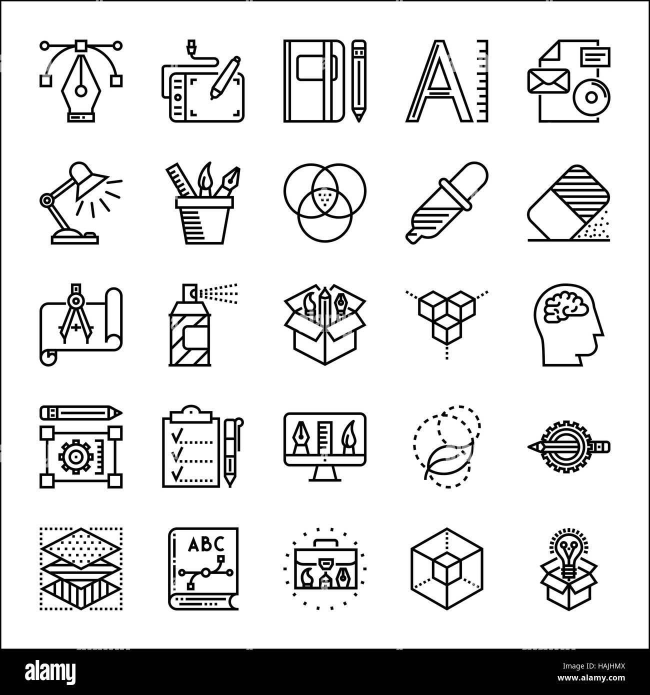 Graphic design thin line icons set, vector illustration - Stock Image