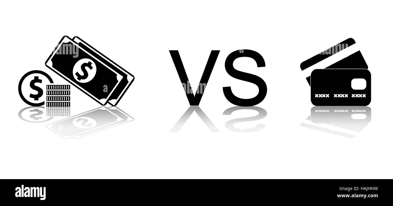 Cash vs card. Black and white vector illustration. - Stock Vector