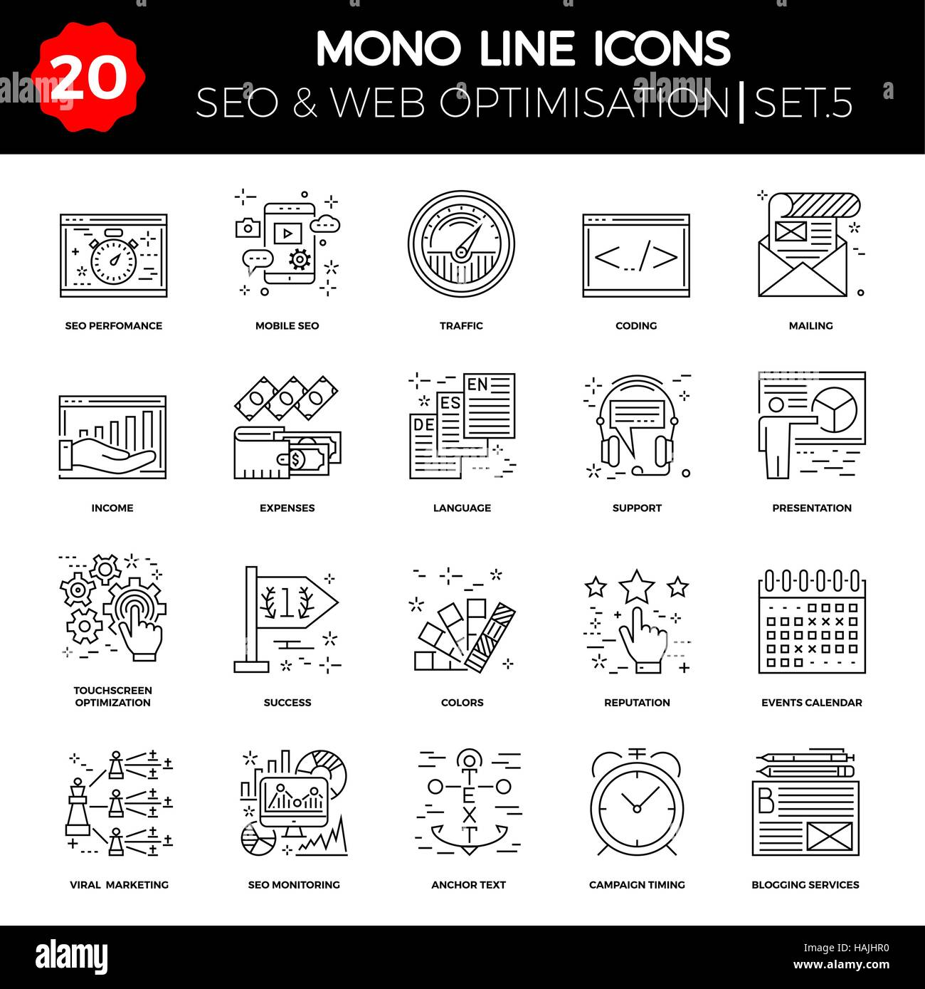 Thin Line Icons Set of Search Engine Optimization, Website
