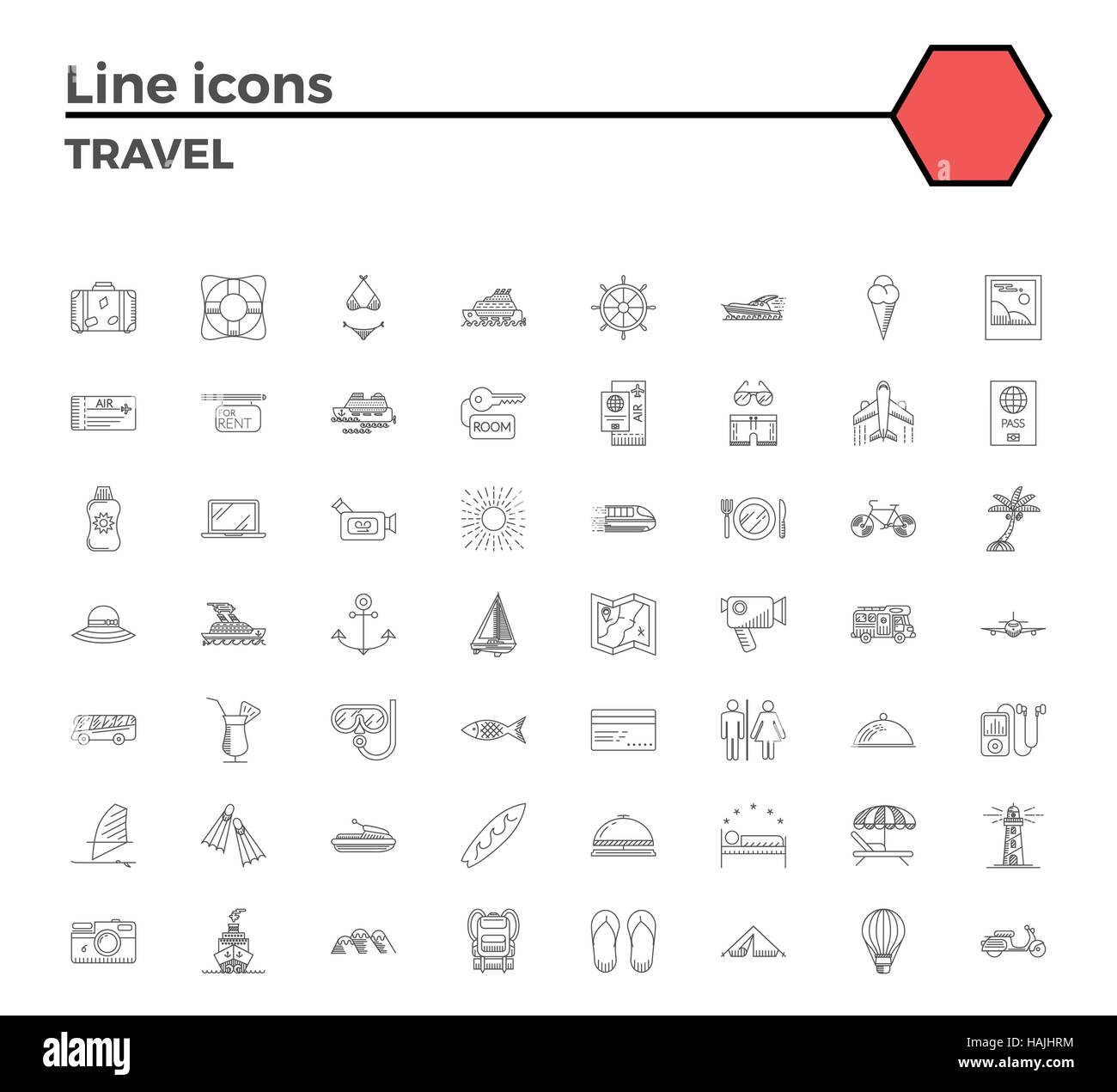 Travel thin line related icons set on white background Summer Stock