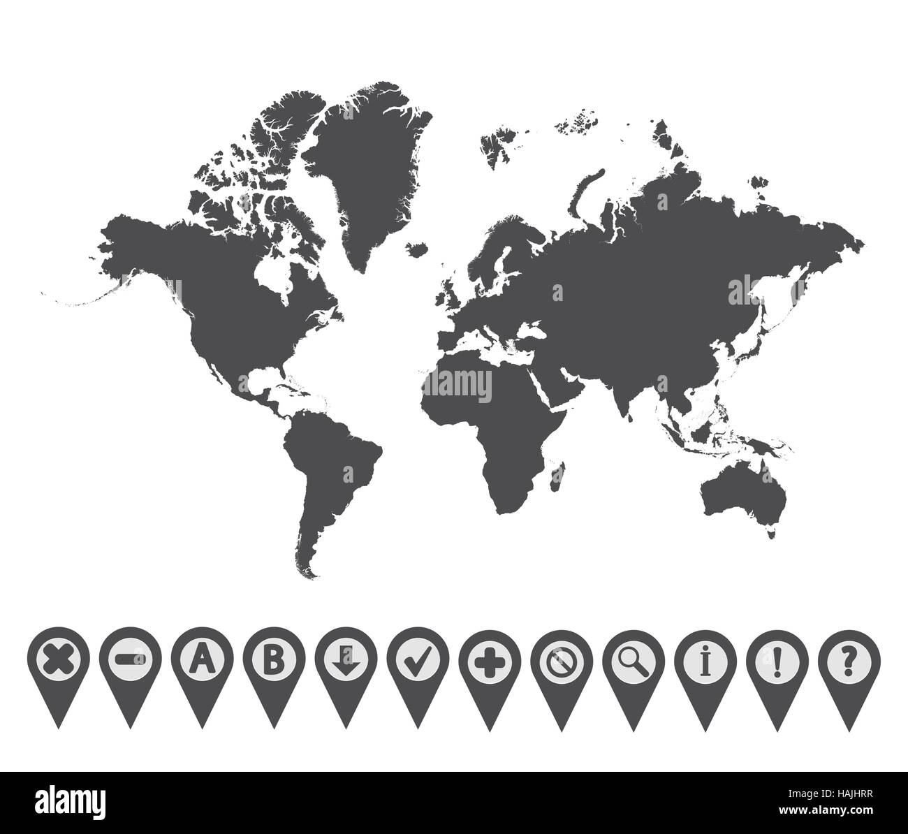 Map with Navigation Icons. Vol. 1. Vector illustration. - Stock Image
