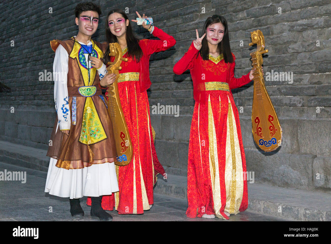 Performers at Chinese cultural show, Xian, China - Stock Image