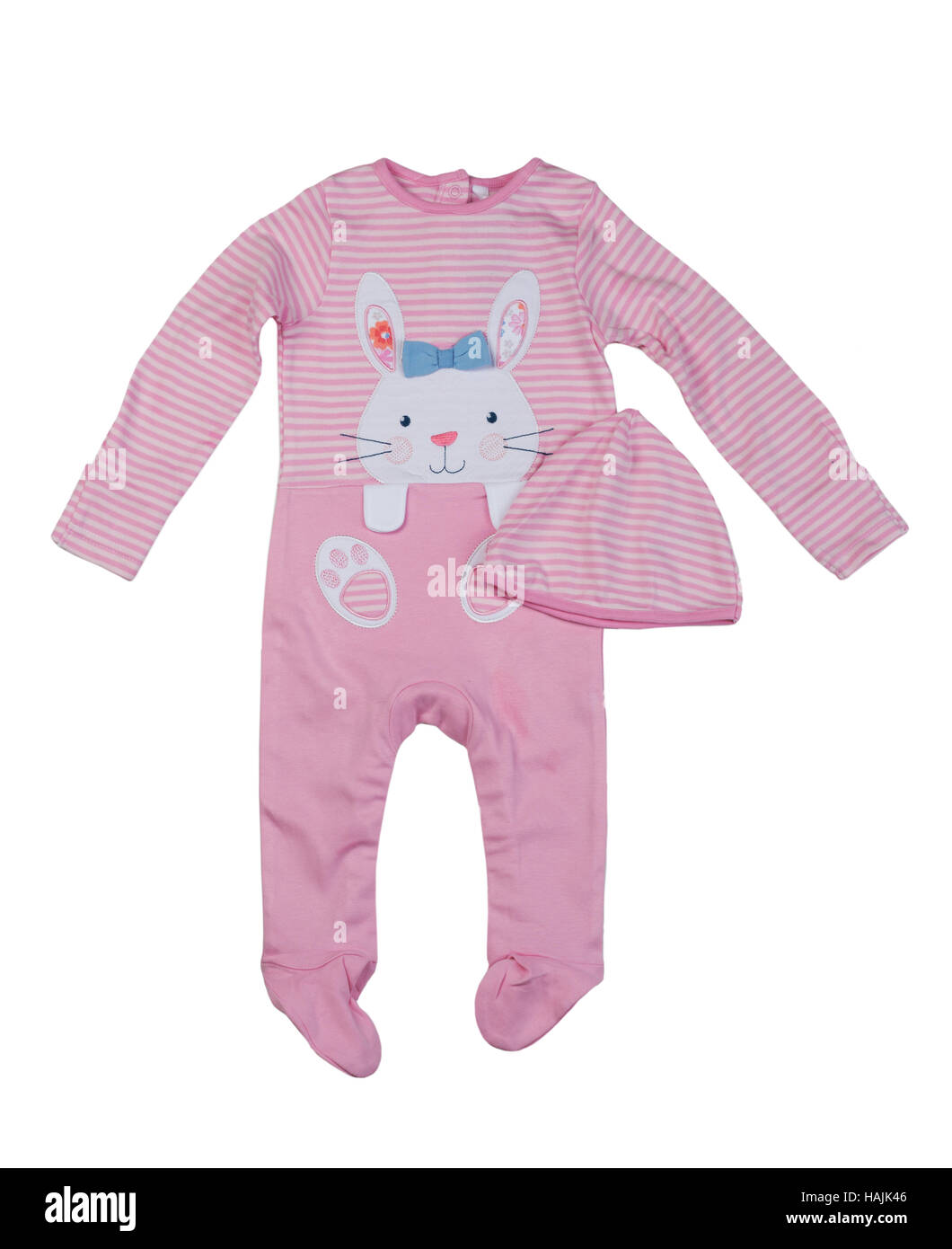 Pink rompers with rabbit pattern. Isolate on white. - Stock Image
