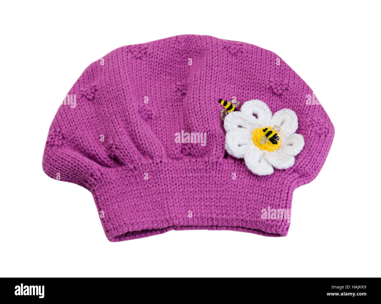 84cdd411af2 Pink knitted hat beret. Isolate on white. - Stock Image