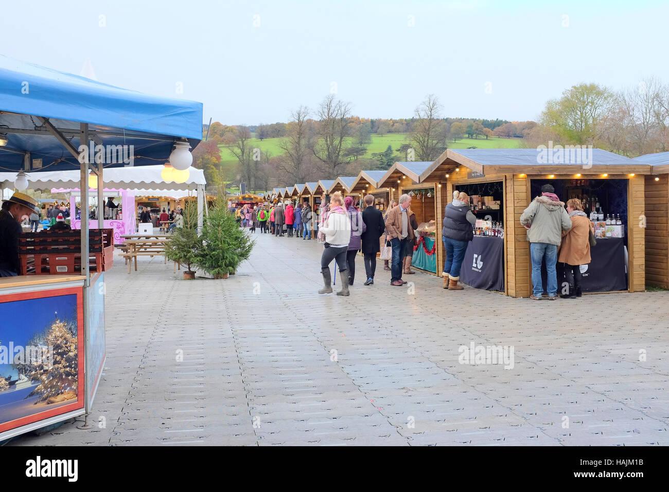 Chatsworth, Derbyshire, UK. November 15, 2016. Wooden Christmas market  stalls in