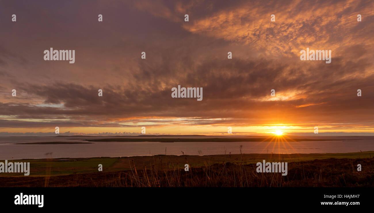 Sunrise over Isle of Egilsay, Orkney - Stock Image